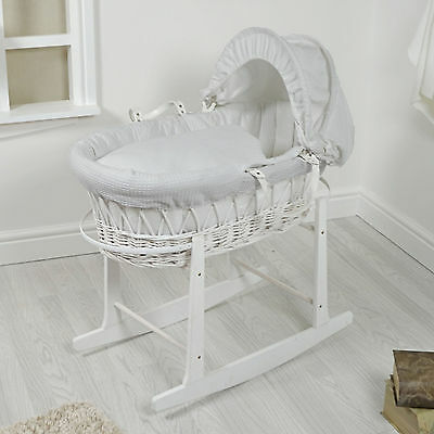 New 4Baby White Wicker / Grey Waffle Padded Baby Moses Basket & Rocking Stand