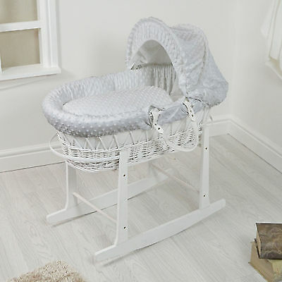 New 4Baby White Wicker / Grey Dimple Padded Baby Moses Basket & Rocking Stand