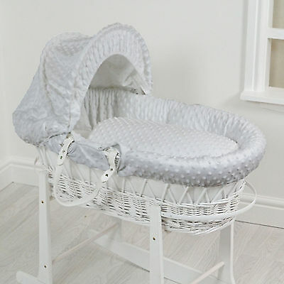 New 4Baby White Wicker / Grey Dimple Deluxe Padded Unisex Baby Moses Basket