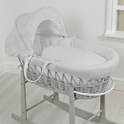 New 4Baby Grey Wicker / Grey Waffle Deluxe Padded Unisex Baby Moses Basket
