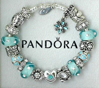 Authentic Pandora Silver Bracelet with Heart Love Aqua Blue Gift European Charms