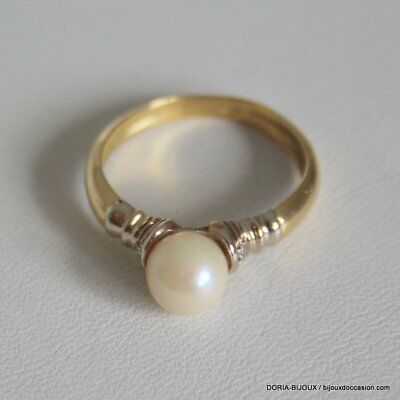 Bague Perle Or 18k 750/000 3.2grs- 56- - Bijoux occasion