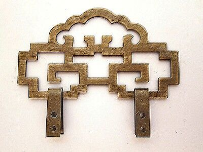 "4"" Chinese Brass Picture Frame Hanger Decorative Hardware Antique Tone"