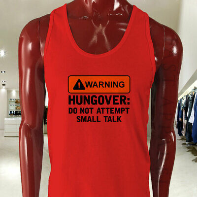 WARNING HUNGOVER FUNNY HUMOR TALK PARTY BEER MEME Mens Red Tank Top