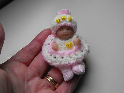 OOAK art  miniature Jointed 5.cm polymer  clay  girl Baby doll  by Carol