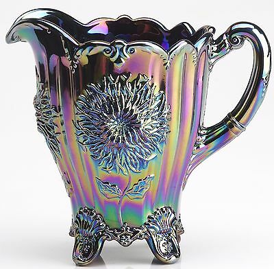 Amethyst Carnival Glass Dahlia Pattern Full Size Water Pitcher - Mosser USA
