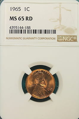 1965-P NGC MS65 RED Lincoln Memorial Cent!! #A6592