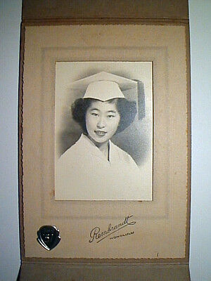 VINTAGE Dated 1951 HAWAII ASIAN GIRL PORTRAIT By REMBRANDT HONOLULU CABINET CARD