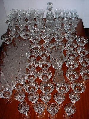 """Gorgeous FRENCH ST. LOUIS  """"STL1""""  CRYSTAL STEMWARE 86 PIECES."""