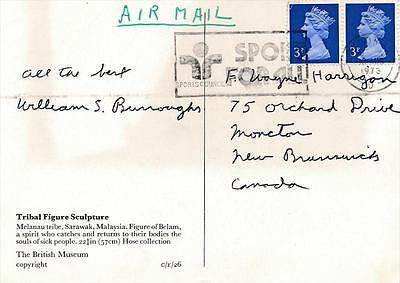 William S. Burroughs- Signed Postal Ccard from 1973