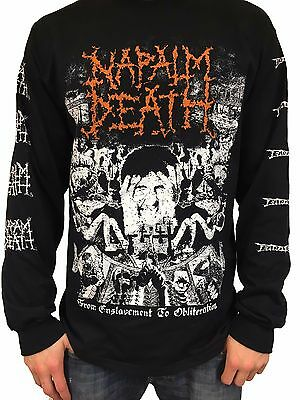 "Napalm Death ""From Enslavement To Obliteration"" Long Sleeve T shirt - NEW"