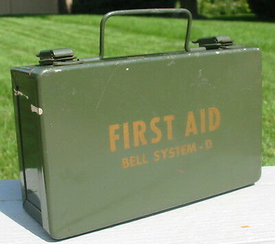 Vtg Bell System D Disaster Emergency First Aid Kit Metal Box Heavy Duty Supply