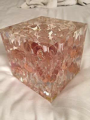 """Lucite / Acrylic Floating 1969 Penny Cube Square Paperweight - 5"""" vintage large"""