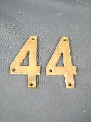 Vintage old Cast Brass pair of 4s exterior house numbers 3&3/4 inches tall