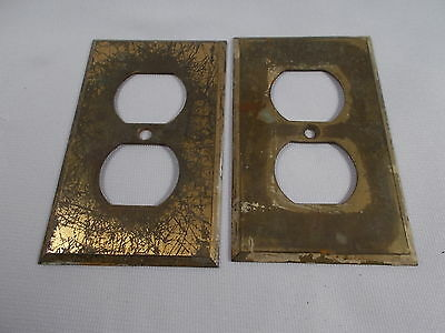 Pair of Vintage Cast Brass Receptacle Plate Covers 2&3/4 by 4&1/2 inches c1920s