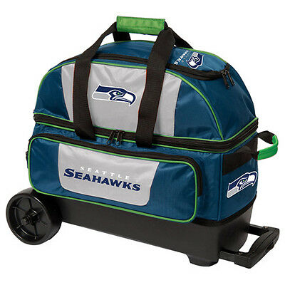 New NFL Seattle Seahawks 2 Ball Roller Bowling Bag Free Shipping