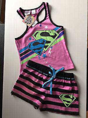 BNWT Girls Sz 8 Cute Pink Super Girl Print Short Summer Stretch PJ Pyjamas