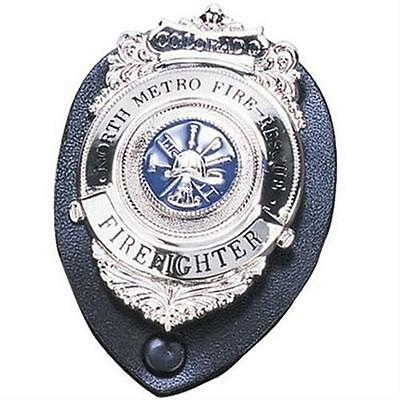"""Strong Leather 71200-0002 Black Oval Clip-On 2.25"""" x 3.25"""" Badge Holder"""