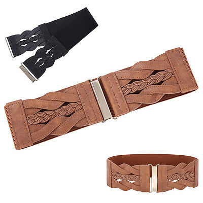 Women Wide Braided PU Leather Floral Hook Stretchy Elastic Waist Belt Waistband