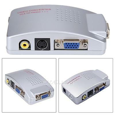 PC Laptop VGA to TV RCA TV Monitor Composite S-video Adapter Converter Box NEW