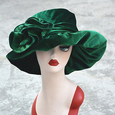 vintage Style Velvet Womens Kentucky Derby Formal Church Dress Wedding Hat A389