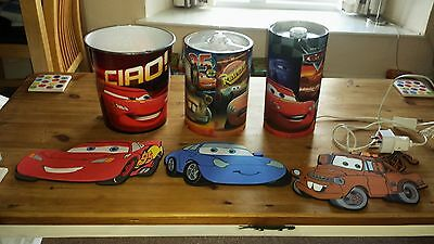 Large Bundle Lightning Mcqueen Lamp  Light shade Bin & Pictures Boys Bedroom Set