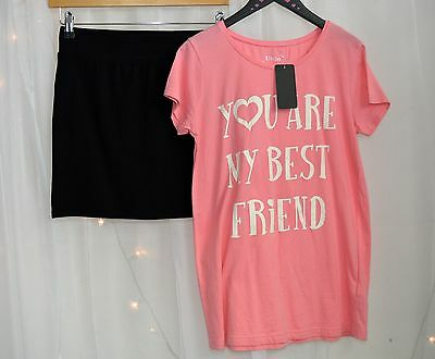 NWT Girls Boutique Pretty Outfit Pink Top & Black Jersey Mini Skirt Age 15 Years