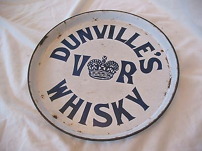 Rare Victorian Patterson & Co Belfast Dunville's  Whisky enamel pub drinks tray