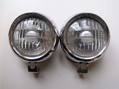 Pair Of Very Nice Original Lucas 4 Ft Chrome Fog Lamps Classic Car Scooter Ford