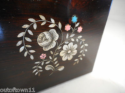 Antique Mother of Pearl inlaid Rosewood  Top Tea Caddy Box ,  ref1283