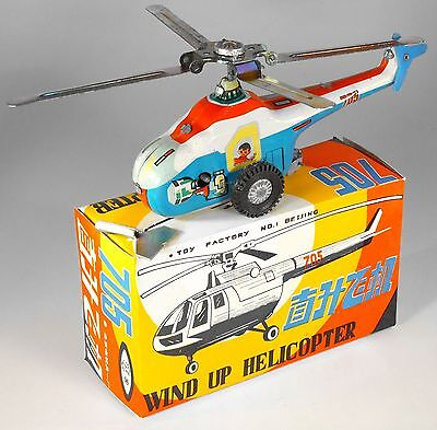 Vintage Tin Wind-Up Helicopter from Red China, NOS