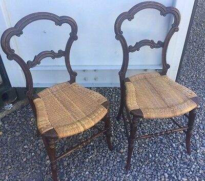 Vintage Pair Of Small Ornate Balloon Back Chairs With Rattan Seats Bedroom Chair