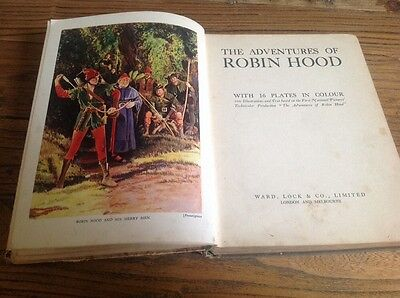 Vintage Book The Adventures Of Robin Hood 16 Colour Plates