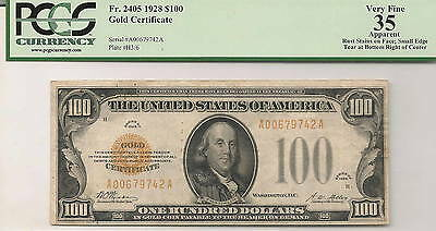 1928 $100 Gold Certificate  FR 2405   PCGS VF35