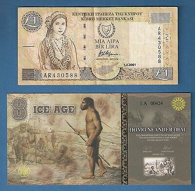 Cyprus *  £1 Pound Banknote (Circulated)   Plus  Ice Age - Homo Neanderthal(Unc)