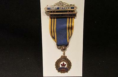 Royal Canadian Legion Post WWII Pendant Medal Past Officer With Ribbon