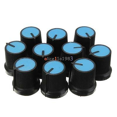 10PCS Black Knob Blue Face Plastic for Rotary Taper Potentiometer Hole 6mm New