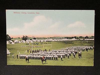 Military Camp London Ont Canada Pre-WWI Color Postcard Unmailed Red Star News