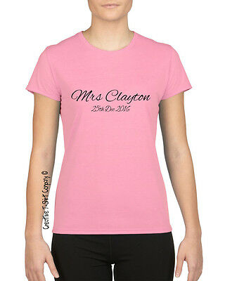 "Personalised ""Mrs XXXX & Date"" Fitted Ladies Wedding T-Shirt, Ace Honeymoon Gift"