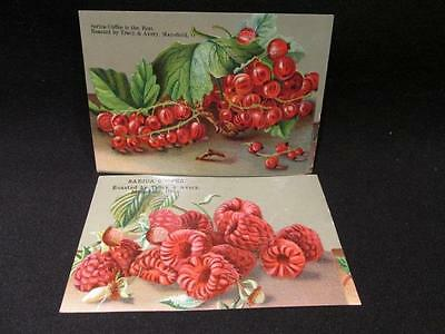 Sarica Coffee 2 Victorian Trade Cards  Roasted By Tracy & Avery Berries Design