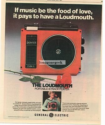 1976 GE General Electric Loudmouth Portable 8-track Player Vtg Print Ad