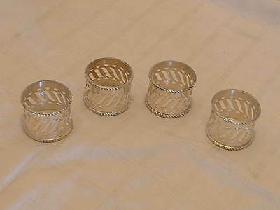 Set 4 Vintage Silver Plated Pierced Napkin Rings With Gadroon Border