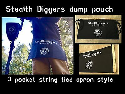 stealth digger dump pouch metal detecting live free or die 3 pocket string tied