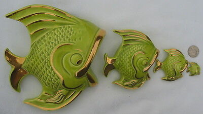 Vtg Angel Fish Wall Pocket Hanging Plaques Eating Descending Multi Size XL-Mini