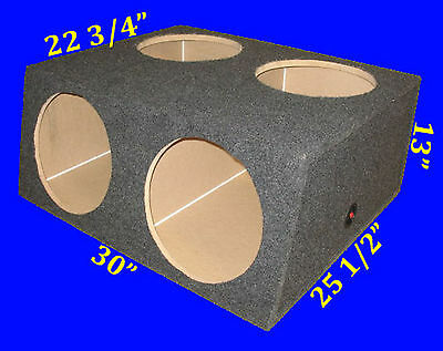 "4 Four Hole 12"" Compact Grey Subwoofer Sub Speaker Enclosure Box"