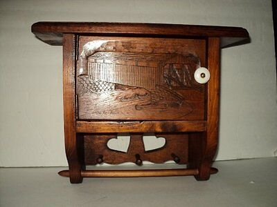 Great 1989 Woodcarved Kitchen Cabinet/shelf Towel Holder Signed By Artist