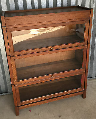 Lawyers Bookcase Barrister Antique Tiger Oak 3 Tier GRM Gunn Stacking Wernicke
