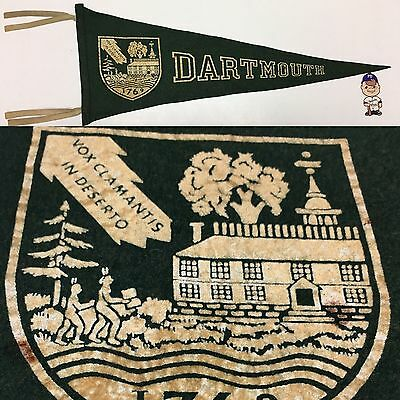 1960's Dartmouth College Indians Big Green Ivy  University Pennant 10x27