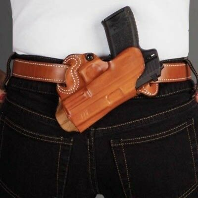 Desantis 067 Small of Back Belt Holster RH Tan For Glock 17/19/22/23