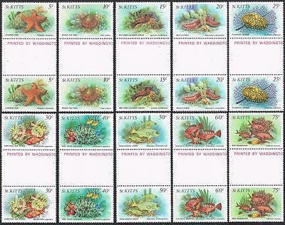 St Kitts 139-152 gutter,MNH. Marine life:Cushion star,Shells,Shrimps,Worms,Fish.